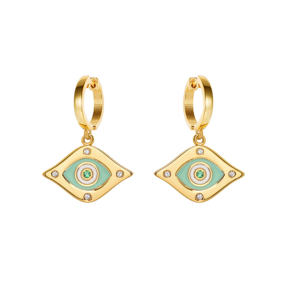 Green-Enamel-Hoop-earrings